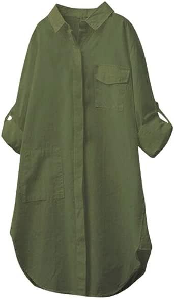 UJUNAOR Camicetta Donna Elegante Manica Lunga in Cotone e Lino con Bottoni e Tasche a Camicia Lunghe Tinta Unita Casual S,M,L,XL,2XL