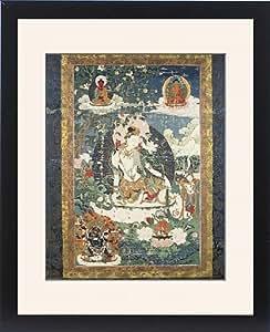 Tableau d'affiche encadrée tanka tibétain avec une illustration de détente