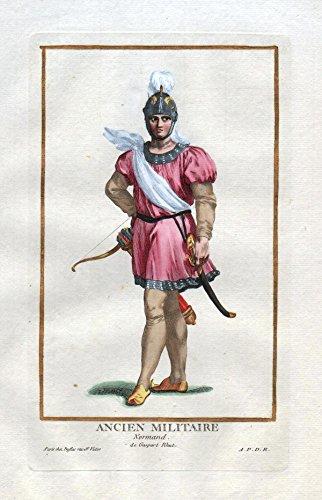 Ancien Militaire Normand - Normandie France Militaria Portrait costumes Kupferstich antique print