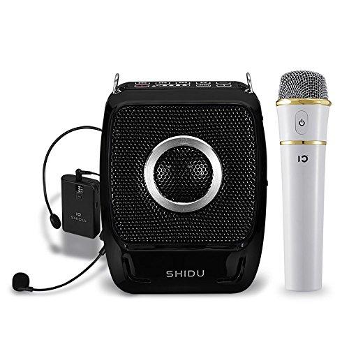 Altoparlante portatile con amplificatore vocale ricaricabile a 25 Watt con sistema di altoparlanti a pile auricolari compatto UHF per cuffie a microfono wireless per karaoke, insegnanti, guid