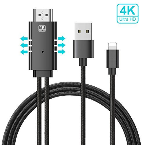 [Verbesserte] Lightning auf HDMI Kabel | Baseus 1.8 Meter 1080p HDMI Video AV-Kabel Stecker Conversion HDTV Adapter Heimkino | Kompatibel mit iPhone X / 8 / 7 /6/5 Serie, iPad / iPod Touch - Unterstützt iOS 11 (Video Ipod Av-kabel)