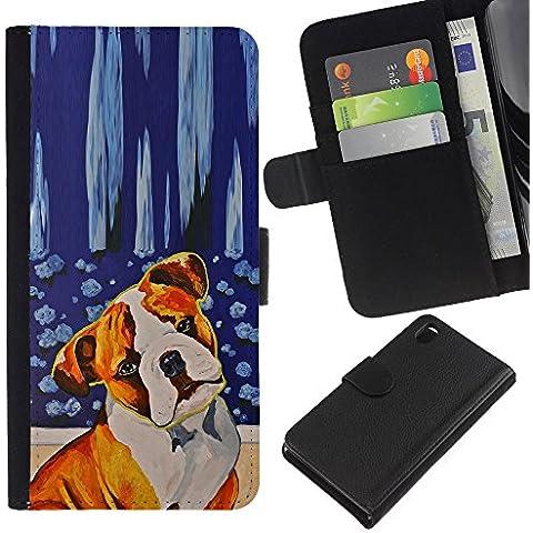 Red Fawn Boxer American Bull Terrier Dog - la tarjeta de Crédito Slots PU Funda de cuero Monedero caso cubierta de piel Sony Xperia Z3 D6603