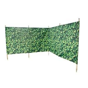 Lime Shop Haie brise-vent avec piquets en bois Motif laurier 4m