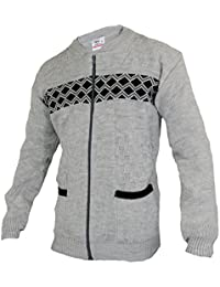 f705ce3653886a Mens Knitted Cardigan With Full Zip UP Textured Pattern Knit Grandad Style  Zig Zag Print Zipper