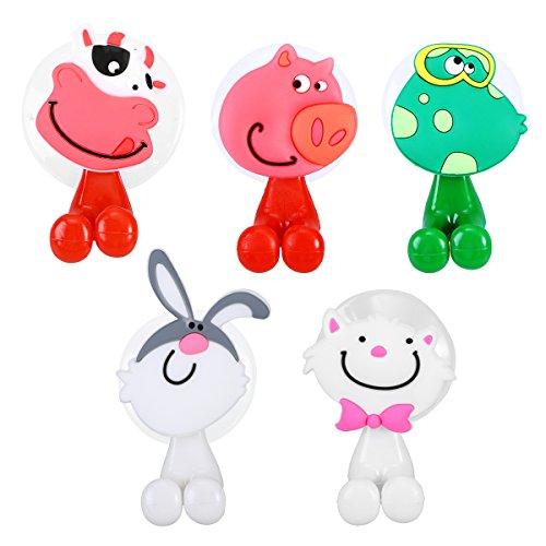 OUNONA 5 stücke Kinder Zahnbürstenhalter mit Saugnapf, Wandbehang Tier Cartoon Halterung für Zahnbürsten
