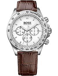 Boss Herren-Armbanduhr Chronograph Quarz Leder 1513175