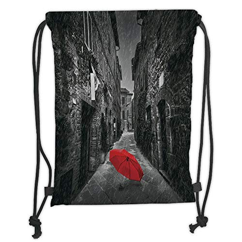 Fashion Printed Drawstring Backpacks Bags,Black and White,Red Umbrella on a Dark Narrow Street in Tuscany Italy Rainy Winter Decorative,Grey Vermilion Soft Satin,5 Liter Capacity,Adjustable String -