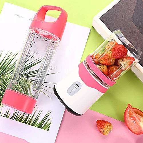 yongqxxkj Batidora de Frutas portátil de 500 ml/300 ml, Batidos Recargables USB Batidos Taza de exprimidor Mezclador de Fruta Comida batidora, Rosa