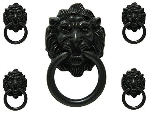 5 x Möbelknopf Möbelgriff Möbelgriffe Möbelknöpfe Griff Knopf schwarz matt Löwe