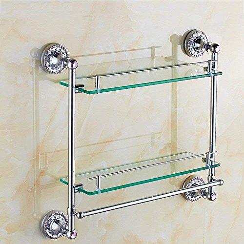 Cwj mensola per doccia estremamente robusta e fissa tutti gli armadi da bagno in rame supporto doppio per lavabo in vetro con pendente per bagno in ottone,b