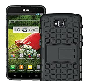 Higar Dual Armor With kick Stand Back Bumper Cover Case for LG Optimus G Pro Lite D680 - Black