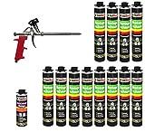 SET Pistolenschaum 12 Dosen 750 ml Montageschaum 1K Bauschaum PU-Schaum + 1 Reiniger + 1 Schaumpistole
