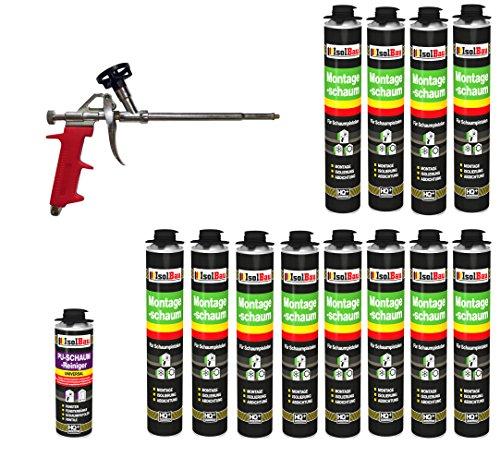 2 Dosen 750 ml Montageschaum 1K Bauschaum PU-Schaum + 1 Reiniger + 1 Schaumpistole ()