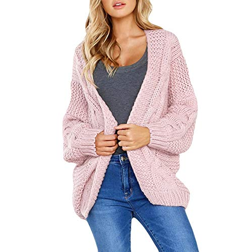 (VRTUR DamenLose Gestrickt Solide Lange Ärmel Strickjacke T-Shirt Oberteile Sweatshirt Mantel OversizedTops(M,Rosa))