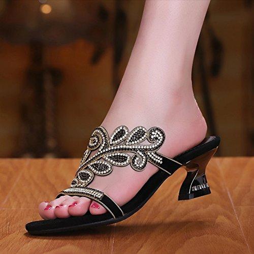ZYUSHIZ Mme Cool avec chaussons Chaussons Sandales diamant synthétique à créneaux 40EU