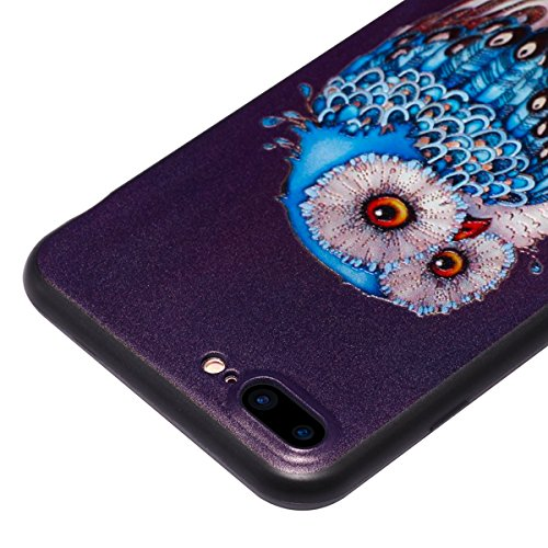 Silicone Custodia per iPhone 7 Plus/iPhone 8 Plus (5.5), EUWLY Colorato 3D Modello Style Protettiva TPU Custodia Cassa per [iPhone 7 Plus/iPhone 8 Plus (5.5)], Nero Protettiva Cover Case Ultra Sotti Gufo