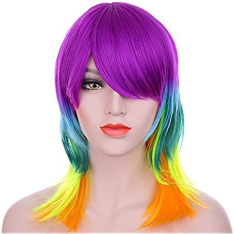 Hxhome 40 cm/40 Ricci Multi Colore Rave Costume Neon Rainbow, My Little Pony, Cosplay Capelli Sintetici