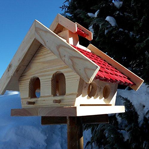Vogelhaus-XL Rot- Vogelhäuser-Vogelfutterhaus Vogelhäuschen-aus Holz Wetterschutz Putzklappe - 3