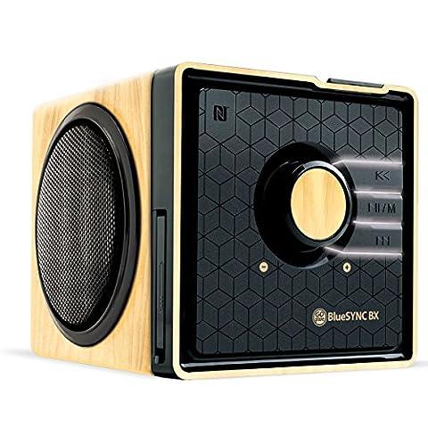 GOgroove Kabelloser Bluetooth Lautsprecher mit NFC und Freisprechfunktion im Holz-Design für Smartphones , Tablets , MP3 Player , Laptops , BlueSYNC BX (Kieferfarben/Schwarz)