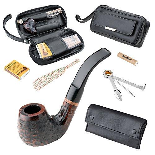 Mianova Tabak Pfeife Set Holzpfeife Tabakpfeife Bruyere im schwarzen Lederetui Schwarz Braun