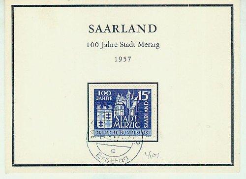 First Day Card - Saarland - 100 Jahre Stadt Merzig - 1957 - 15F [Briefmarke, Saar, gestempelt, Ersttagsbrief, Saar] -