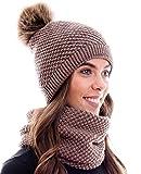 Hilltop Winter Kombiset aus Schal und passender Strickmütze (Beanie mit Pompon) in 100% Baumwolle, Winter Set:Braun