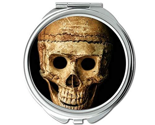 Yanteng Spiegel, runde Spiegel, schädel Halloween Menschen Maske Dummy, taschenspiegel, 1 X 101X Vergrößerung