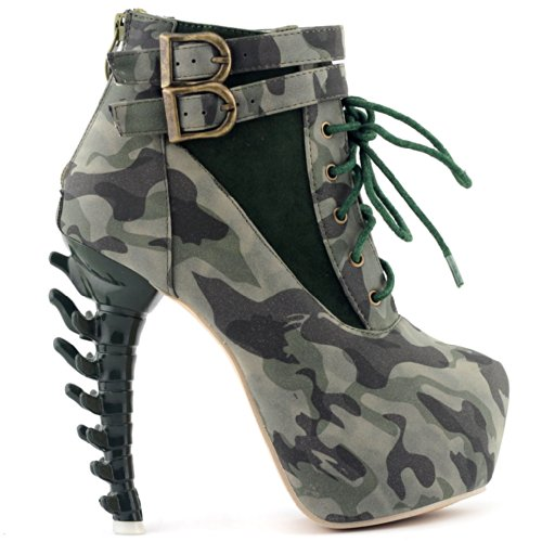 Show Story grün Lace Up Schnalle High-Top Knochen Camo militärische Ankle-Boots, LF40601GR40, 40EU, grün -