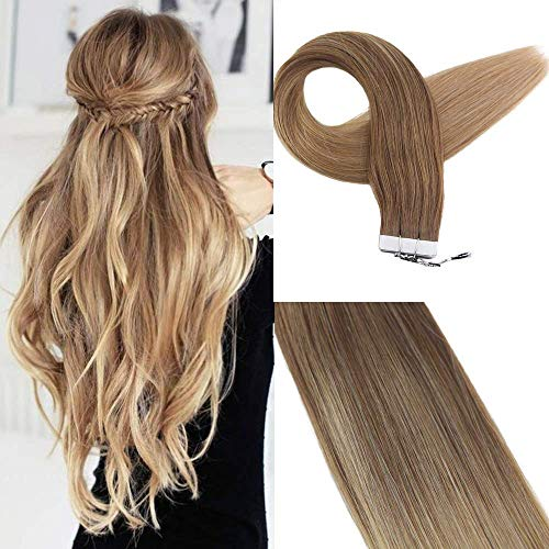 Golden Blonde (Easyouth Haarverlängerung Echthaar Ombre 50g 18 Zoll Farbe #10 Dark Ash Blonde To #14 Dark Golden Blonde Skin Weft Professional Hair Extensions Menschenhaarband In Extensions Wellig)
