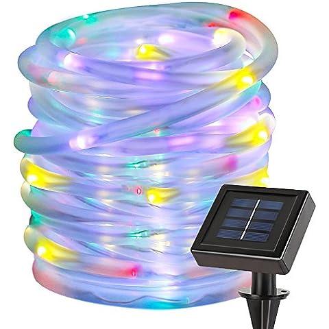 LE Manguera Luces Solar 10m 100 LED Resistente al agua Multicolor, decoración de jardín, terraza, Navidad