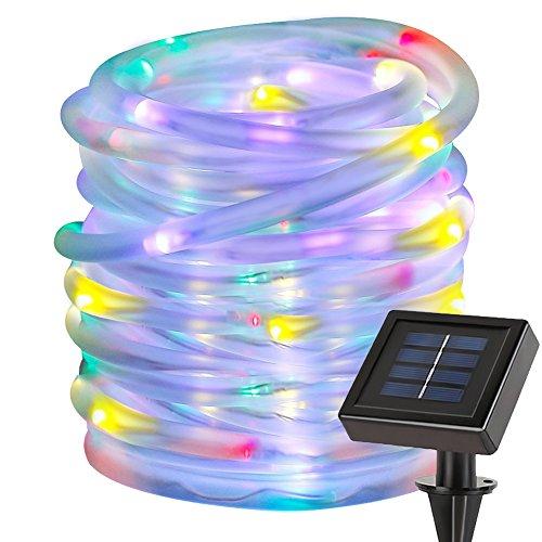 LE Guirlande lumineuse LED RGB 12M 100 LEDs, Tube Lumineux LED, Étanche, Bleu/ Vert/Rouge, changement de couleurs, avec panneaux solaires, Lampe Ampoule LED éclairage Solaire, Idéal pour la Toussaint/ Halloween/ Noël/ Fêtes/ Mariages