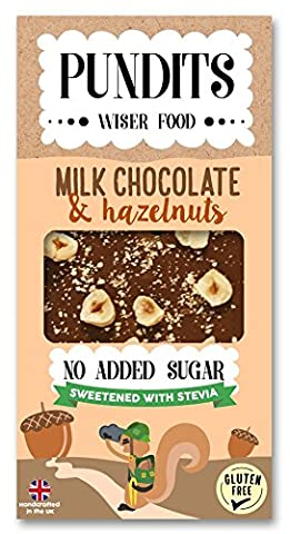 4 x Pundits - Milk Chocolate & Hazelnut Bar - with Natural Stevia Sweetener by Pundits | Healthy, Irresistibly Tasty Chocolate | Suitable for Diabetics | Low Carb, Gluten & No Added Sugar | Sweet Delight with Zero GI for Kids & Adult - NO ADDED SUGAR