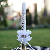 Personalisierte Kommunionskerze Konfirmationskerze Kerze zur Kommunion Konfirmation 40x4 cm Tropfschutz Kerzenrock individuell handgefertigt binnbonn