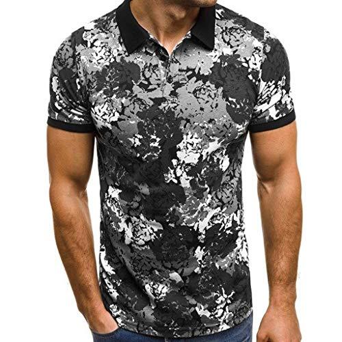 Herren Printed Poloshirts Kurzarm T-Shirt Kurzarmshirt Polohemd Casual Basic O-Neck Top Sommer Hemden Sweatshirt (XXXL, Grau)