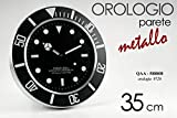 Orologio da parete tipologia rolex ufficio casa 35cm decorazio moderno nero COD.588808