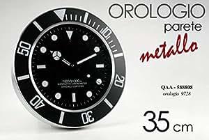 Gicos Orologio da parete tipologia rolex ufficio casa 35cm decorazio moderno nero COD.588808