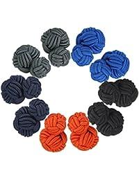Vintage Cuff Links Silk Knot Cufflinks Gift Set For Wedding Business 5 Pairs CSXK-01 (Style 3163)