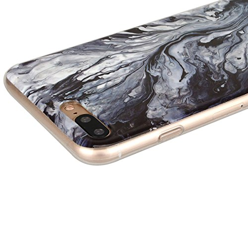 GrandEver iPhone 7 Plus Hülle Marmor Weiche Silikon TPU Bumper Gel Schutzhülle Rückschale Klar Handytasche Anti-Kratzer Stoßdämpfung Ultra Slim Rückseite Silicon Backcover Soft Case Marble Cover Ultra Schwarz