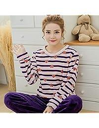 0f7024c682 SALICEHB Pijamas Cálidos De Manga Larga para Mujer Pijama Sets Ropa De  Dormir De Dibujos Animados Lindo Mujeres Pijama Femme Traje…