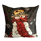 Throw Pillow Case,Kingwo Christmas Super Soft Square Snow Throw Pillow Case Bed Home Decorative Waist Cushion Pillow Cover Great For Christmas Day (J)