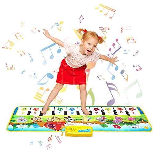 Shayson Piano Matte, 100*36 cm Klaviermatte 8 Instrumente Sounds 10 Keys Keyboard 9 Demo, Tanzmatte Floor Musical Spielzeug Touch Play Keyboard Gym Play Mat for Children