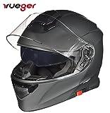 RS-982 Klapphelm Motorradhelm Conzept Motorrad Modular Roller Helm rueger, Größe:S (55-56), Farbe:Schwarz Matt