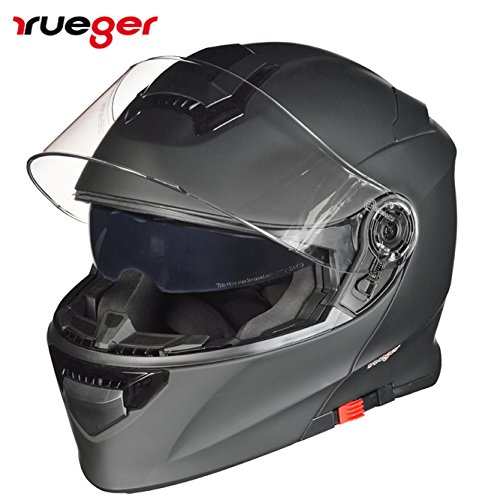 RS-982 Klapphelm Motorradhelm Conzept Motorrad Modular Roller Helm rueger, Größe:L (59-60), Farbe:Schwarz Matt