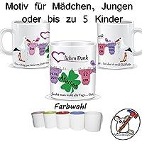 Tasse für die Hebamme / Herzlichen Dank / Danke / Personalisierbar mit den Daten des/der Kinder + Namen der Hebamme / GESCHENKIDEE HEBAMME