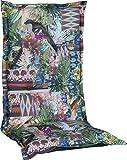 Gartenstuhlauflage Sitzkissen Polster für Hochlehner mit Dschungelmotiv Premium Bezug aus 100% Baumwolle