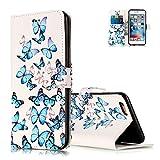 Aeeque Pochette iPhone 8 Blanc Etui, Élégant Papillons Bleu Dansant Motif Dessin Anti Choc Housse Coque en Cuir pour iPhone 8 avec Support/ Fente de Carte/ Magnétique Fonction