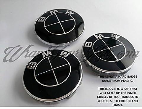 Schwarz glänzend BMW Badge Emblem Overlay Aufkleber Kapuze Trunk Felgen @ passend für alle BMW @