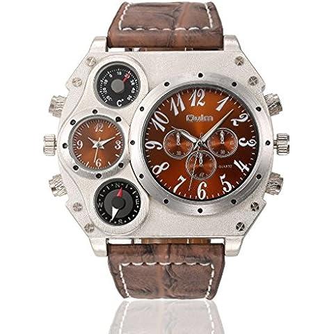 pkaty Uomo Forma Irregolare, doppio fuso orario cinturino in pelle PU movimento giapponese al quarzo polso watches-brown