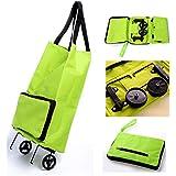 cmykzone Mujer grandes plegable carrito de la compra de doble rueda carretilla plegable carro de equipaje hombro bolso de mano portátil bolsa