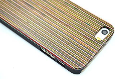 RoseFlower® iPhone SE / iPhone 5S / iPhone 5 Holzhülle - Bambus-Seawave - NatürlicheHandgemachteBambus / Holz Schutzhüllemit Kostenlose Displayschutzfolie für Ihr Smartphone BunteStreifenundPC
